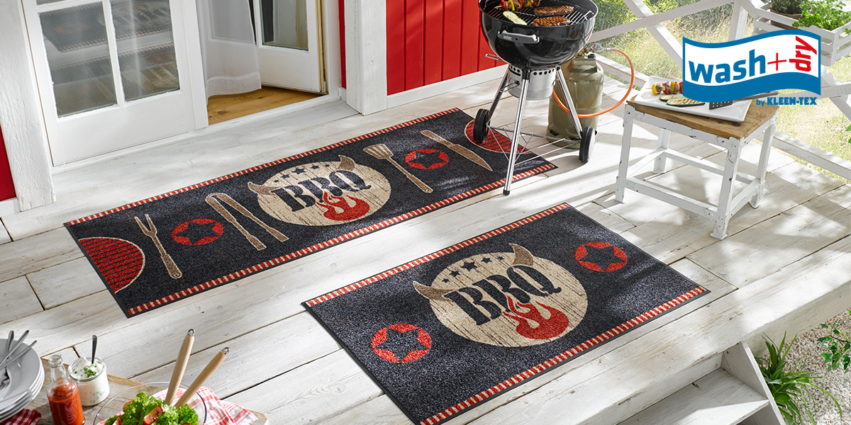 wash+dry Design mat BBQ on terrace