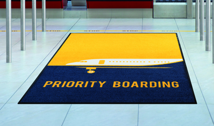 "Logo - yellow/blue Logo mat for ""priority boarding"" at the airport"
